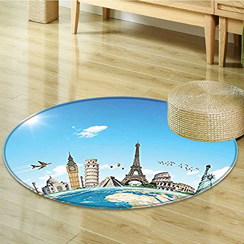 Round Area Rug Carpet Famous Monuments of Pisa Taj Mahal Giza Pyramids Design Blue Gray White Living Dinning Room and Bedroom Rugs-Round ()