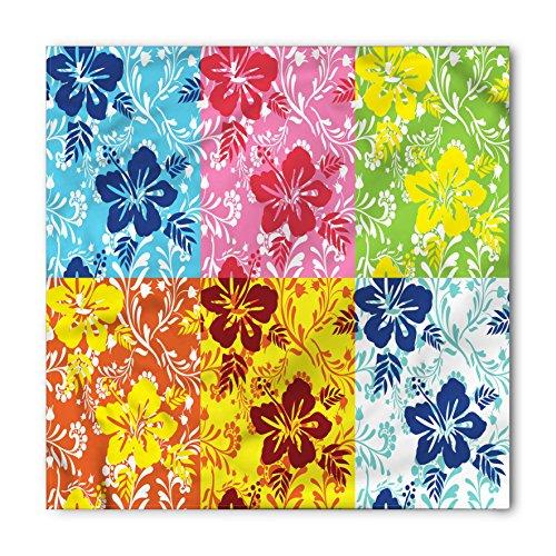 Hawaiian Bandana by Lunarable, Tropical Colorful Blooming Hibiscus Flower Summer Themed Pattern with Leaves, Printed Unisex Bandana Head and Neck Tie Scarf Headband, 22 X 22 Inches, Blue Pink (Hawaiian Bandana)