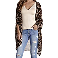 b72360f96e FANOUD Women Chiffon Smock Leopard Print Half Sleeve Long Cover Cardigan