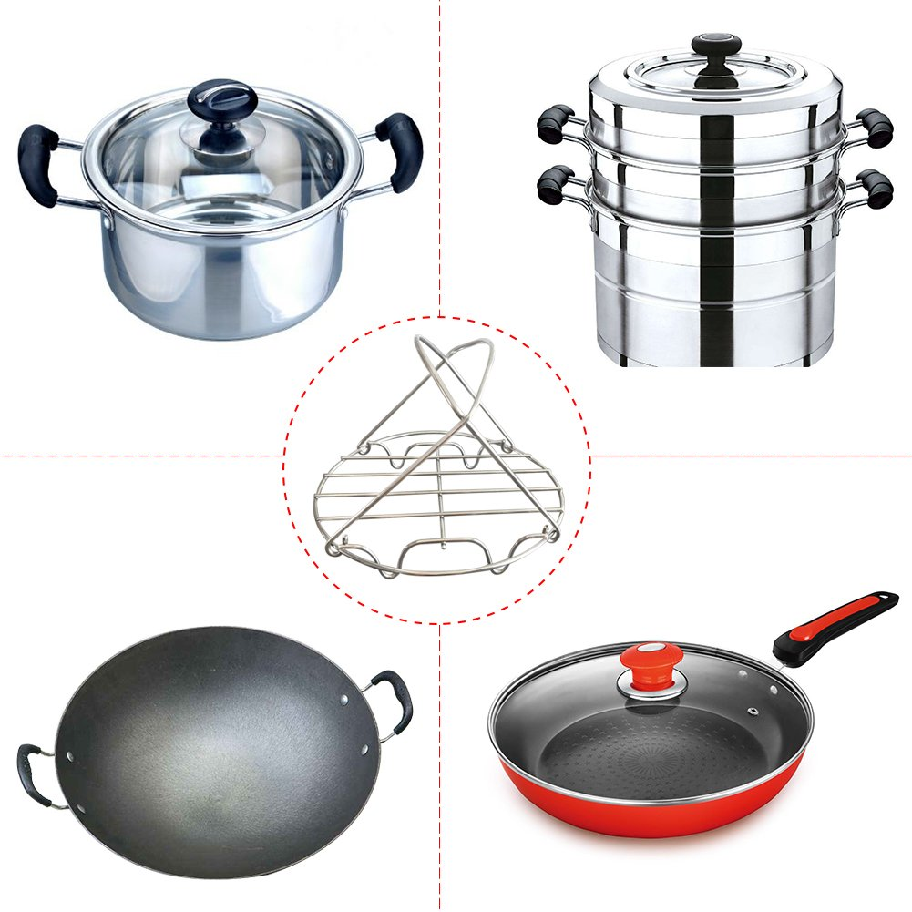 Small Steamer Rack Trivet with Handles for Instant Pot and Other Electric Pressure Cookers 3 Qt 5 Qt 6 Qt