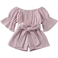Every day Cozy Wear, Toddler Baby Kids Girls Boys Off-Shoulder Ruffle Bow Romper Jumpsuit Outfits, Baby Summer Comfortable Home Clothes