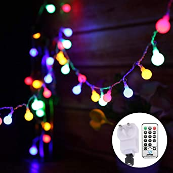 Globe String Lights Mains Powered 13m 43ft 100 Led Outdoor Fairy Lights Multi Color 8 Modes Waterproof With Remote Control For Party Living Room Bedroom Patio Garden 13m 100led Multi Colored Plug In Amazon Co Uk Lighting