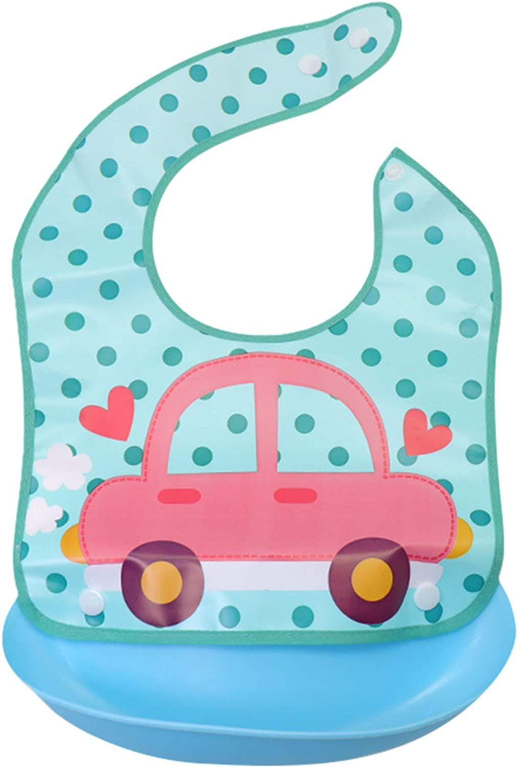 Toddlers Baby Reusable And Washable Cute Cartoon Bibs With Silicone Food Catcher, Waterproof, Stain and Odor Resistant