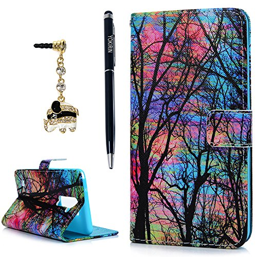 YOKIRIN LG G Stylo 2 LS775 (2016) Case, LG G Stylus 2 L82VL L81VL K540 K520 Case Fashion Wallet Premium PU Leather Flip Folio Cover with Kickstand Card Holders Magntic Closure & Dust Plug, Stylus Pen