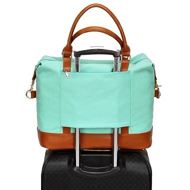 Women Ladies Canvas Travel Weekender Bag Overnight Carry-on Tote Shoulder Bag Duffel in Trolley Handle (Mint Green)
