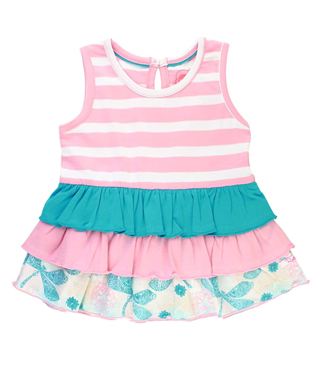 RuffleButts Baby/Toddler Girls Striped and Mix-Print Cotton Knit Flowy Tiered Tank TTKPWXX-DDKW-BABY