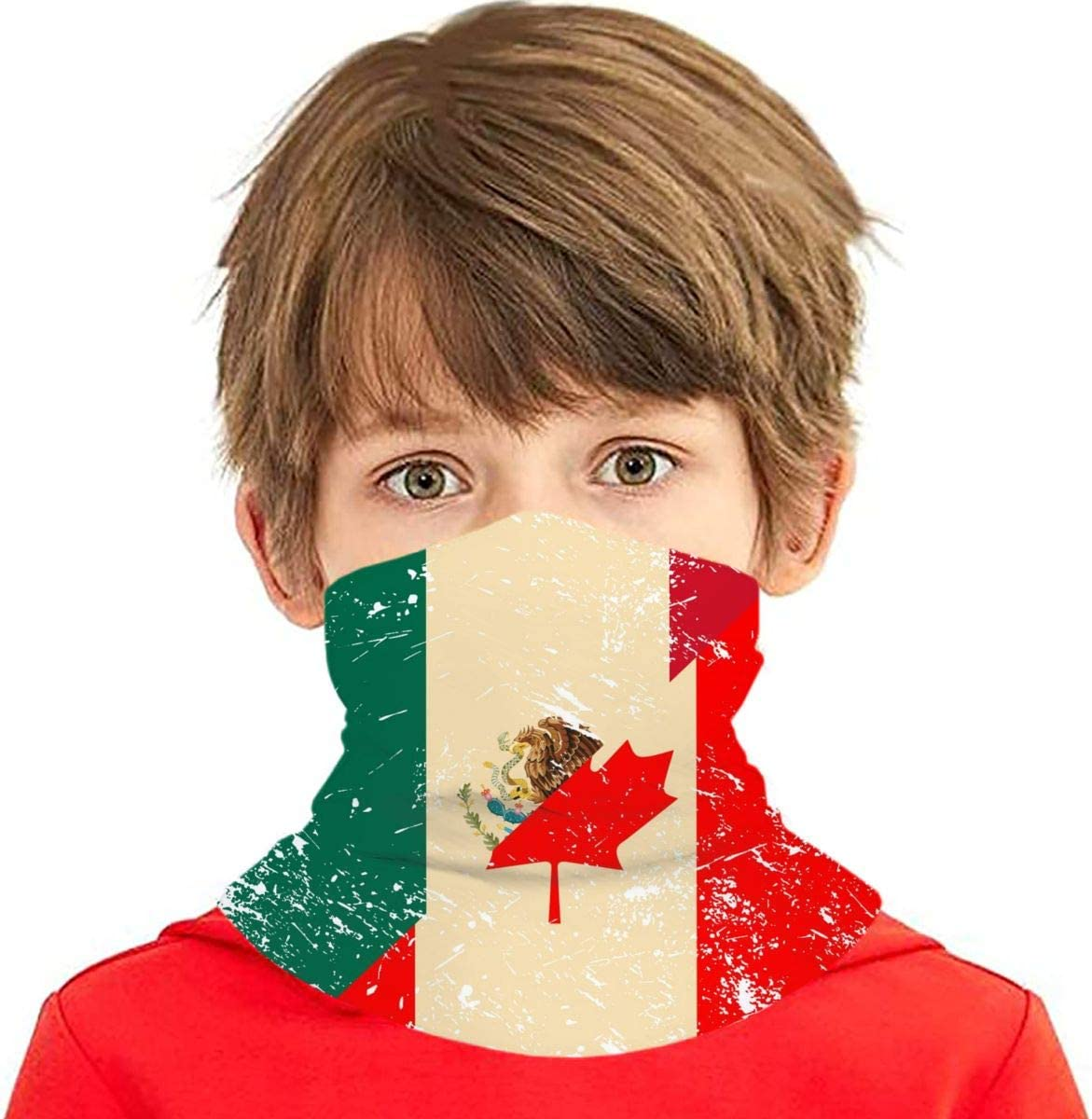 Canada and Mexico Retro Flag Kids Fashion Neck Gauntlet,Balaclava Headband,Face Covering Childrens Summer Neck Gauntlet