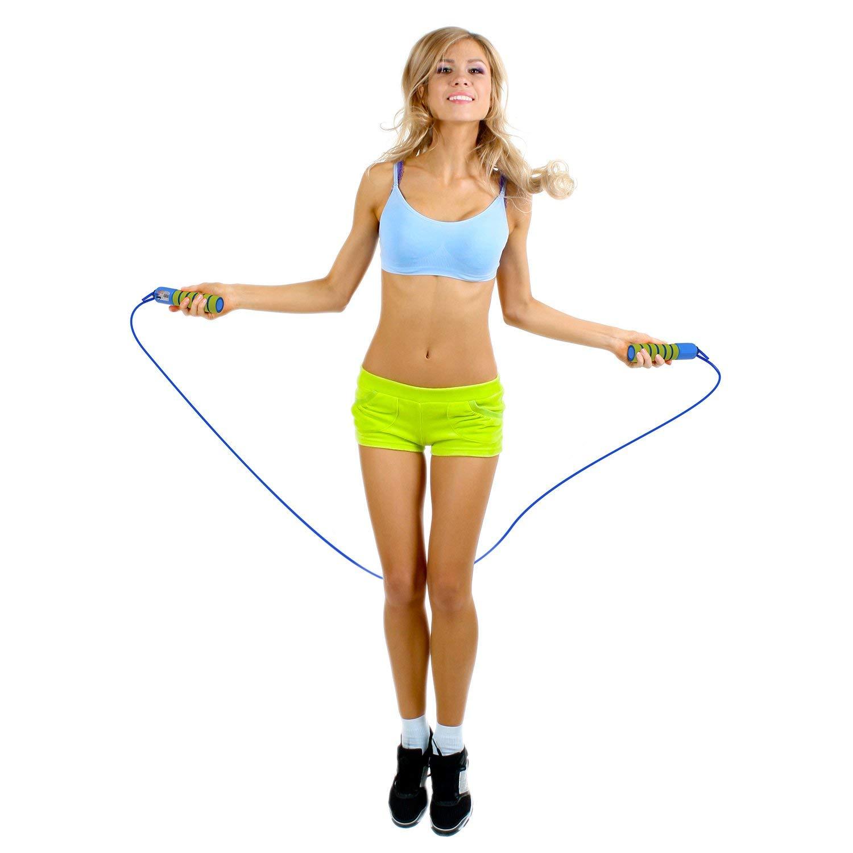 Cuerda para saltar oFami contador de la correa de salto de cuerda de velocidad y el c/ómodo mango antideslizante el ajuste cruzado,Para entrenamientos de gimnasia Double Under Fitness adultos y ni/ños MMA boxeo