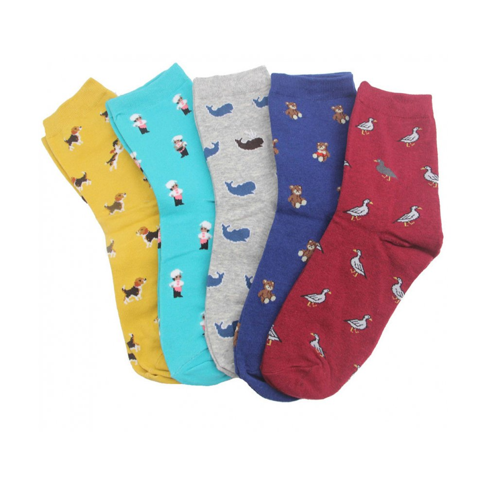 5 Pair//Lot Girls Cotton Cartoon Socks with Dog Bear Duck Mini Animal Funny Pattern Short Tube Crew Sock for Lady Female