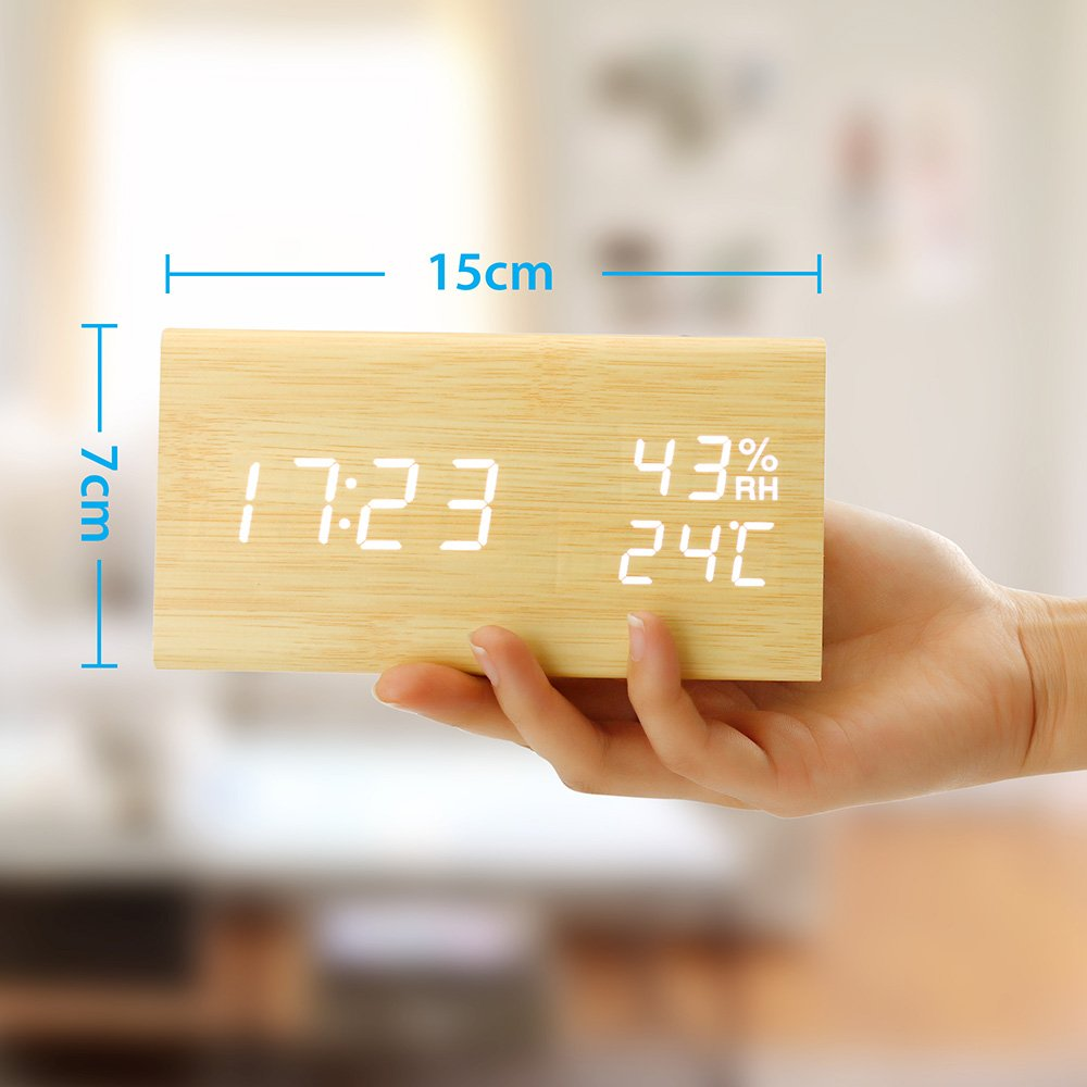 Oct17 Wooden Alarm Clock, Wood LED Digital Desk Clock, UPGRADED With Time Temperature, Adjustable Brightness, 3 Set of Alarm and Voice Control, Humidity Displaying - Bamboo by Oct17 (Image #2)