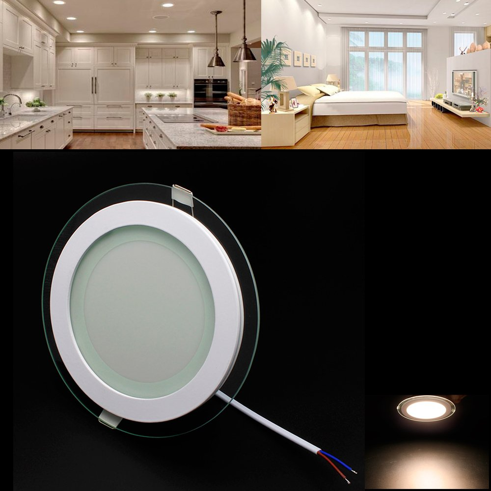 LED Panel Rund Warmweiß Leuchte Glas 12W/Nicht Dimmbar Deckenlampe ...