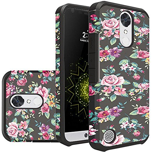 For LG K20 Plus Case, LG K20 V Case, LG Harmony Case , LG K10 Rubber Phone Case 2017 Version ,LG Grace 4G LTE Case Sturdy Durable Dual Layer Protective Cover [Not Fit LG K10 2016] (Roses Floral)