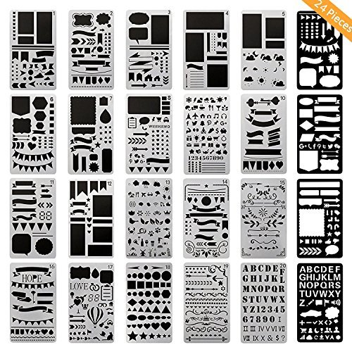 Stencil Doodle (ONEST 24 Pack Journal Stencil Plastic Planner Stencils Journal/Notebook/Diary/Scrapbook DIY Drawing Template Stencil, 4x7 Inch)