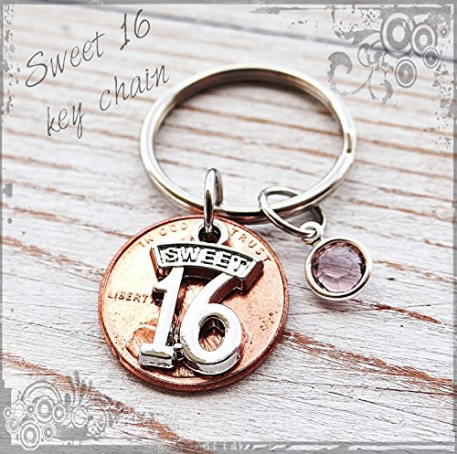 Sweet 16 keychain, Gift for sweet 16 birthday. by Andi's Jewelry
