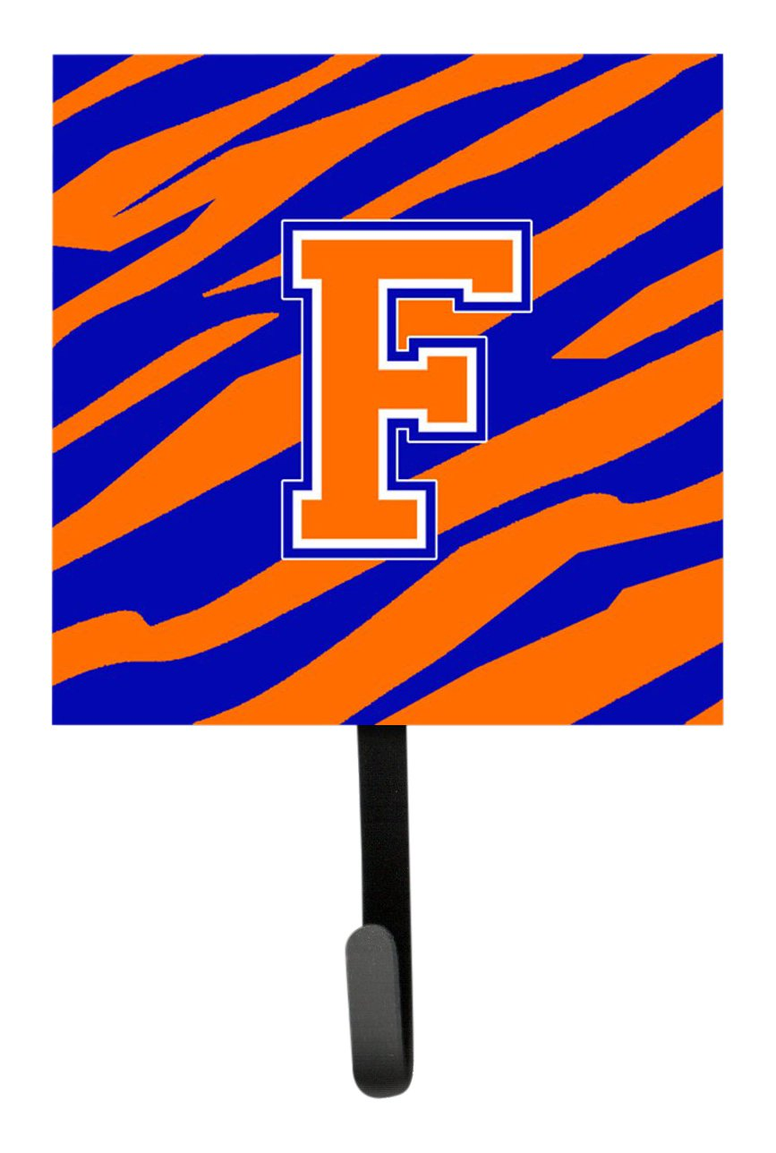 7Hx4.25W Tiger Stripe Blue Orange Leash Holder or Key Hook Carolines Treasures CJ1023-FSH4 Letter F Initial Monogram Multicolor