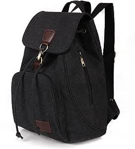 Qyoubi Canvas Fashion Backpacks Purse Casual Outdoor Shopping Daypacks College School Hiking Travel Multipurpose Rucksack Bag Black