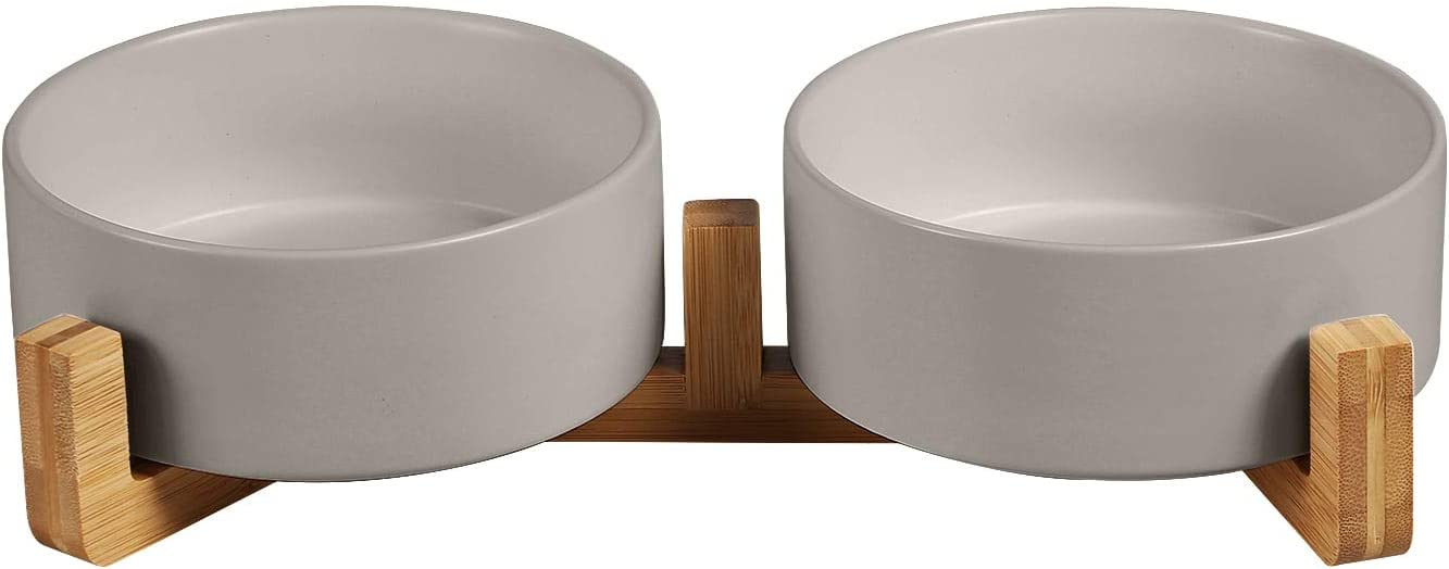 Ceramics Dog and Cat Bowl with Wood Stand Non-Slipped Bottom Food Water Feeder for Cats &Small Dogs
