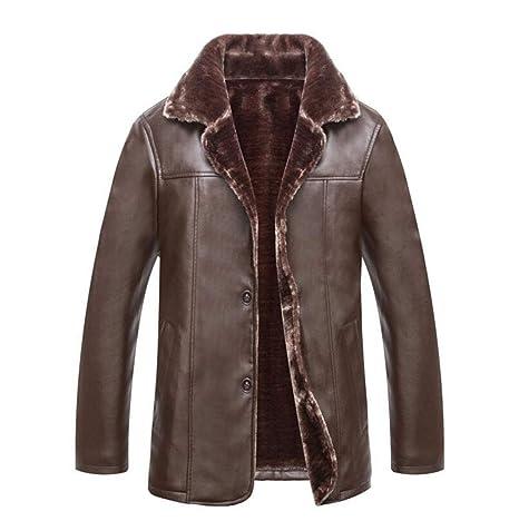 FEIYUESS Chaqueta de Cuero para Hombre Moda Otoño Invierno Casual Pocket Button Thermal Top (Color