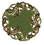 Xia Home Fashions Holiday Holly Embroidered Cutwork Christmas Doilies, 16-Inch Round, Green, Set of 4
