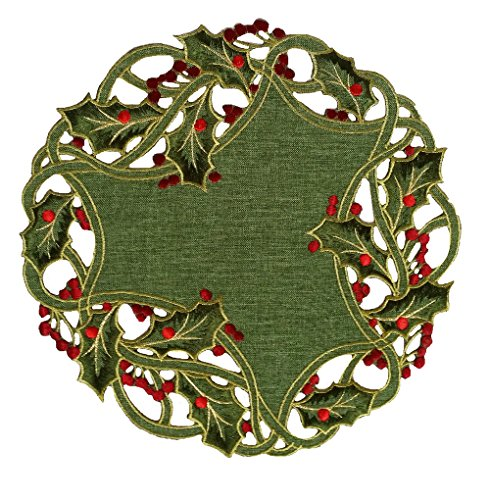 Xia Home Fashions Holiday Holly Embroidered Cutwork Christmas Doilies, 12-Inch Round, Green, Set of 4 (Christmas Embroidery Hand)