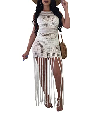 4664e452ad46c Monzocha Women s Sexy Lace Bathing Suit Handmade Crochet Tassel Bikini  Cover up Swimwear