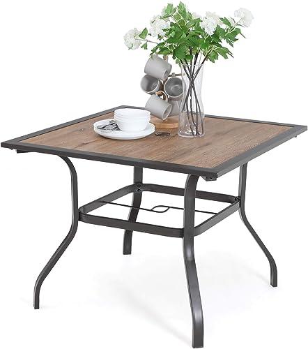 PHI VILLA Patio Dinning Table 37 x 37 Outdoor Umbrella Bistro Set Garden Furniture Table, 1.7 Umbrella Hole, Steel Frame
