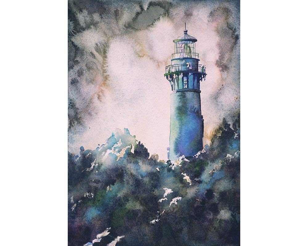 Amazon com: Watercolor painting of Currituck Lighthouse in