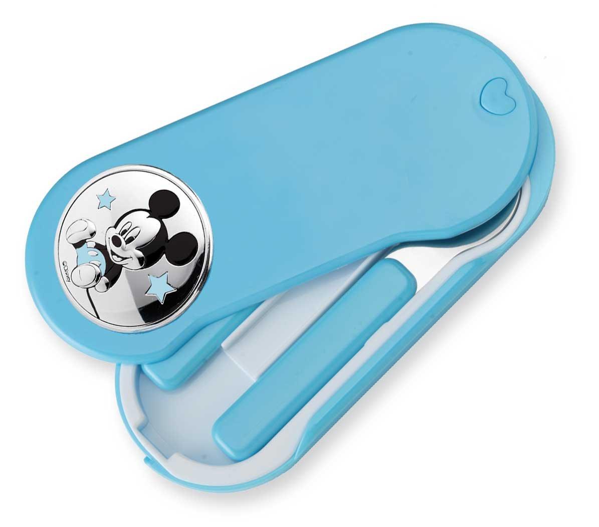 Met/álicos con detalles en plata Regalo para beb/és y ni/ños peque/ños Mickey Mouse Ideal para papillas Set de cubiertos infantiles para viaje Disney Baby
