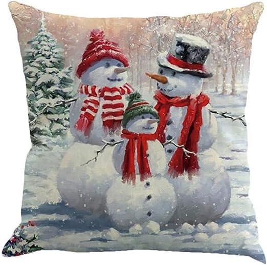 Noël Bonhomme de neige Home Decor Cotton Linen Taie d/'oreiller Square Throw Cushion Cover