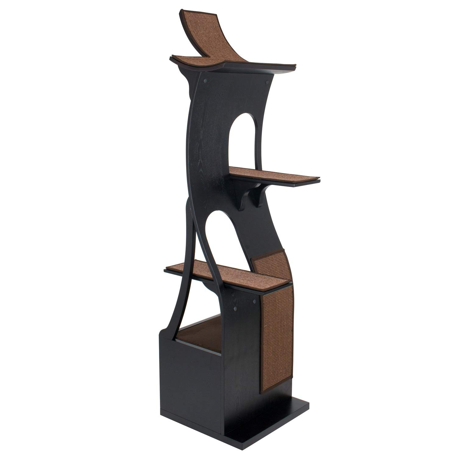 FrontPet Willow Cat Tree Tower Espresso / 20L x 20W x 69H / Cat Tower / Cat Scratching Tower / Cat Activity Tower / Modern Cat Tower / Modern Cat Tree / Unique Cat Furniture / Cat Furniture Modern