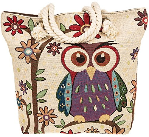 Equilibrium Tapestry Owl Flowers Tote Bag