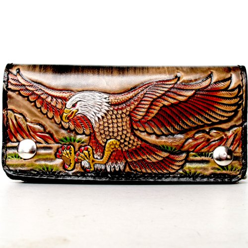 BIKER / TRUCKER CLUTCH WALLET WITH SAFTY CHAIN ** COOL GENUINE COW LEATHER - Tiger Leather Clutch