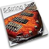 Adagio Pro Series 5-String Bass Guitar Strings Nickel Wound 045-125 Medium Regular Long Scale Set