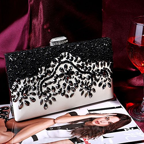 Party Gold Women Senoow Evening Bridal Bead Wedding Clutch Handmade Purse Wallet Prom Bag wT07qR0pn