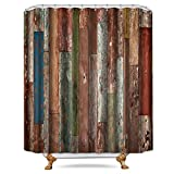 78 inch metal door - Cdcurtain Antique Wooden Shower Curtain 72x78 Inch Metal Hooks 12-Pack Red Blue Grey Grunge Rustic Planks Barn House Wood and Lodge Hardwood Decor Fabric Bathroom Waterproof