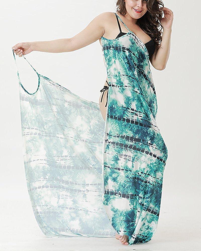 YOUBENGA Womens Plus Size Floral Spaghetti Strap Beach Bikini Cover Up Wrap Dress