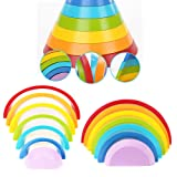 PojoTech Wooden Rainbow Stacking Game Learning