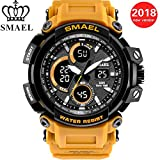 Richermall Men's Military Sports Watch SMAEL 50M Water Resistance Digital-Analog Dual Display Wristwatch with LED Backlight relogio masculino (Yellow