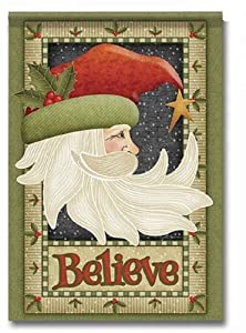 """Santa Believe Christmas Garden Flag - One Sided Outdoor Yard Decor - Winter Welcome Holly Design - Polyester 11.75"""" x 17.5"""" in Size"""
