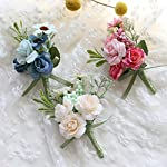 Florashop-Little-Satin-Roses-Berry-Corsage-and-Boutonniere-Pack-Wedding-Bridal-Bridesmaid-Wrist-Corsage-Band-Mens-Groom-Bridegroom-Boutonniere-for-Wedding-Prom-Party-Homecoming-Ivory