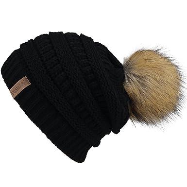 FURTALK Winter Pom Pom Hats for Women - Ladies Knitted Slouch Beanie Bobble  Hat  Amazon.co.uk  Clothing 0122765579c