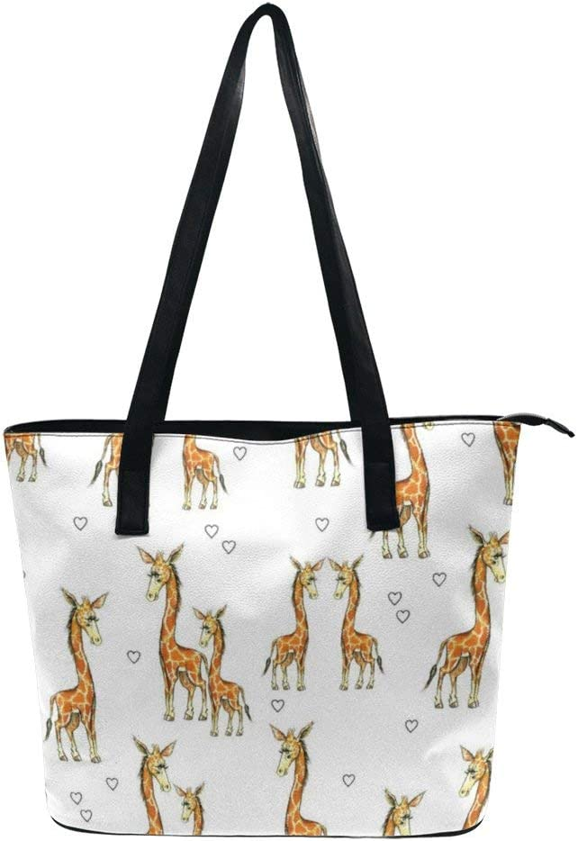 NiYoung Ideal Gift - Women Girls Fashion Elegant Tote Bag Waterproof Zipper Shoulder Bag Purse Large Capacity Travel Shopping Daily Work Tote Handbags (Giraffes and Hearts)