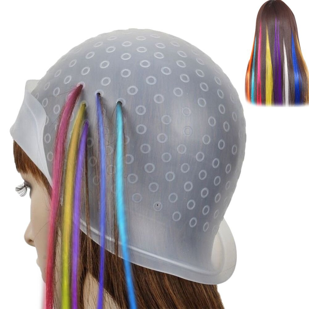 Dye Frosting Cap,Richoose Silicon Reusable Hair Colouring Hairdressing Highlighting Dye with Metal Hook Hair Coloring Hat