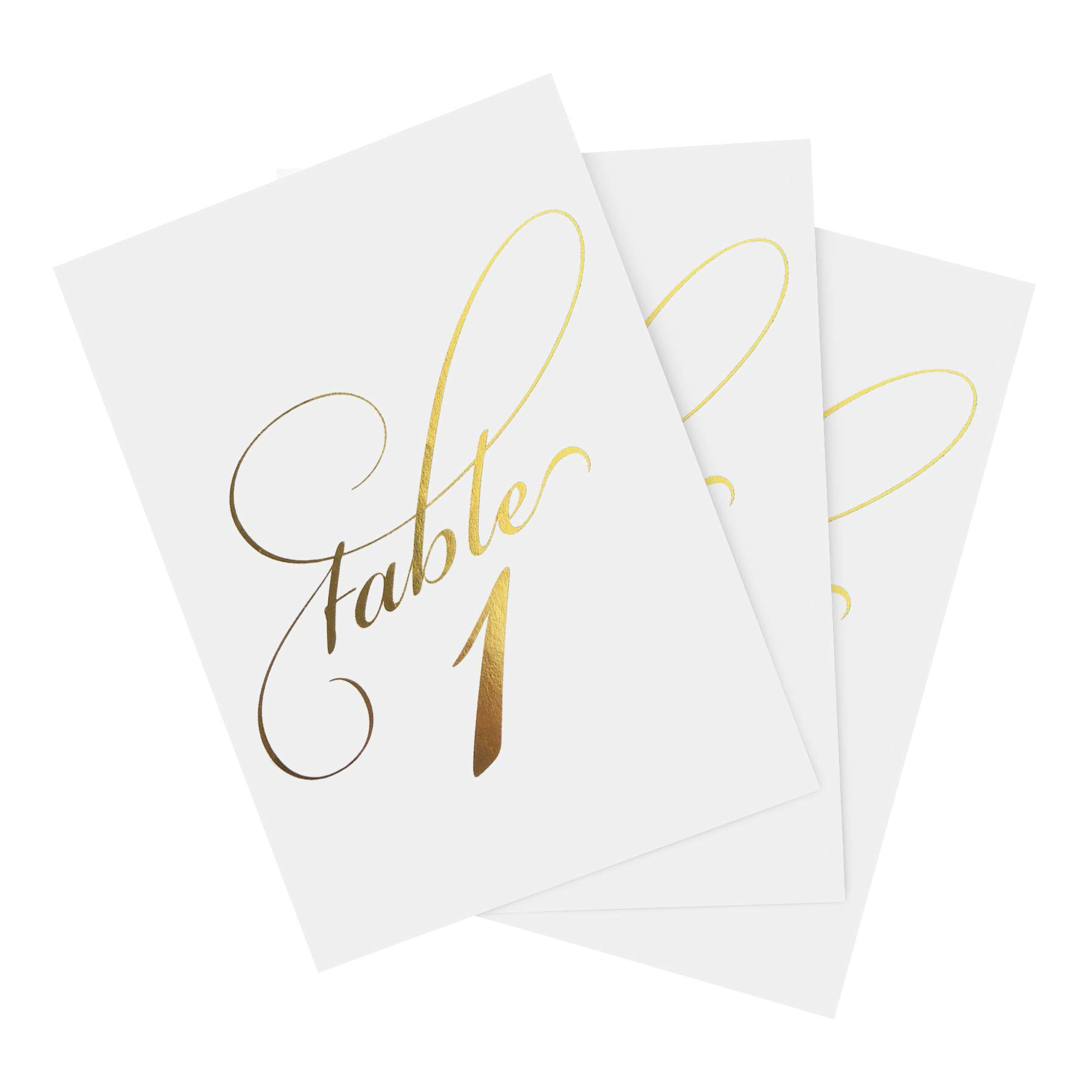 Gold Wedding Table Numbers (Assorted Color Options Available), Double Sided 4x6 Calligraphy Design, Numbers 1-40 & Head Table Card Included by Bliss Paper Boutique