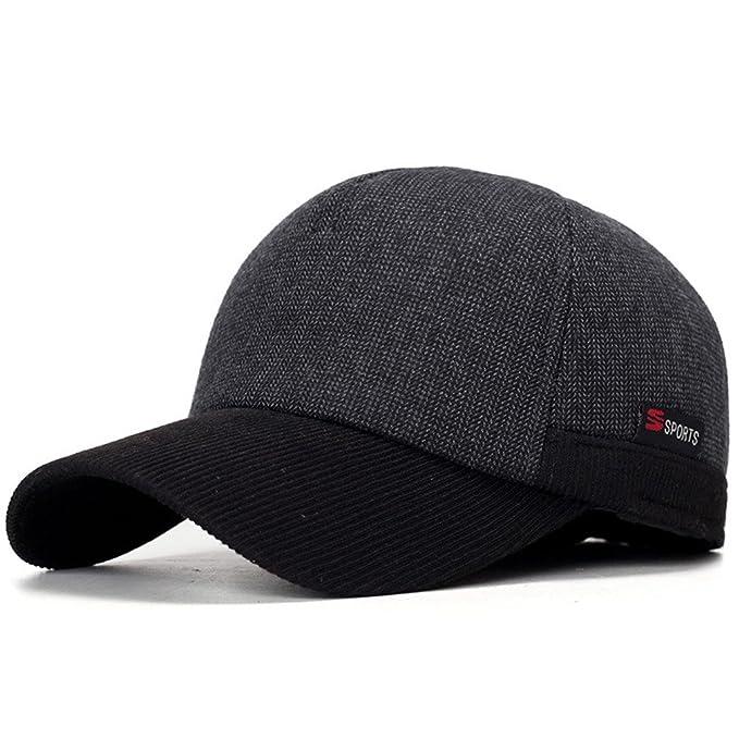 e7e7ac0df37c Amazon.com: FDRGOTTEN New Arrivel Winter Baseball Caps with Ears Motorcycle  Cap Casual Winter Hat Warm Caps with Corduroy Visor for Men Black: Clothing
