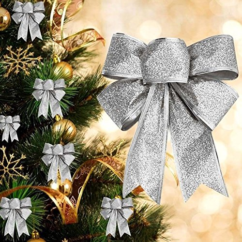 CHDHALTD 10 Pack Christmas Bow for Santa Decorations, Gifts & Presents Wrapping, Hanging Door Decor with Wire, Christmas Tree, Party Supply (Silver) by CHDHALTD (Image #1)