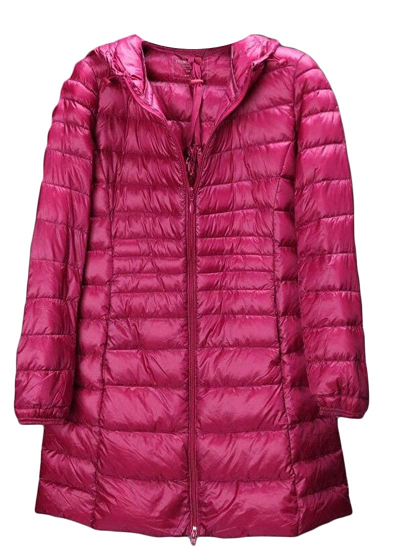 Sweatwater Women Plus Size Lightweight Packable Hooded Puffer Zipper Down Jacket Coat