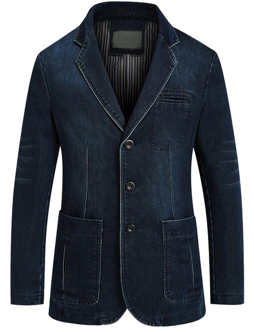 LD Men Casual Business Blazer Slim Fit Washed Denim Jacket Coat 1 L