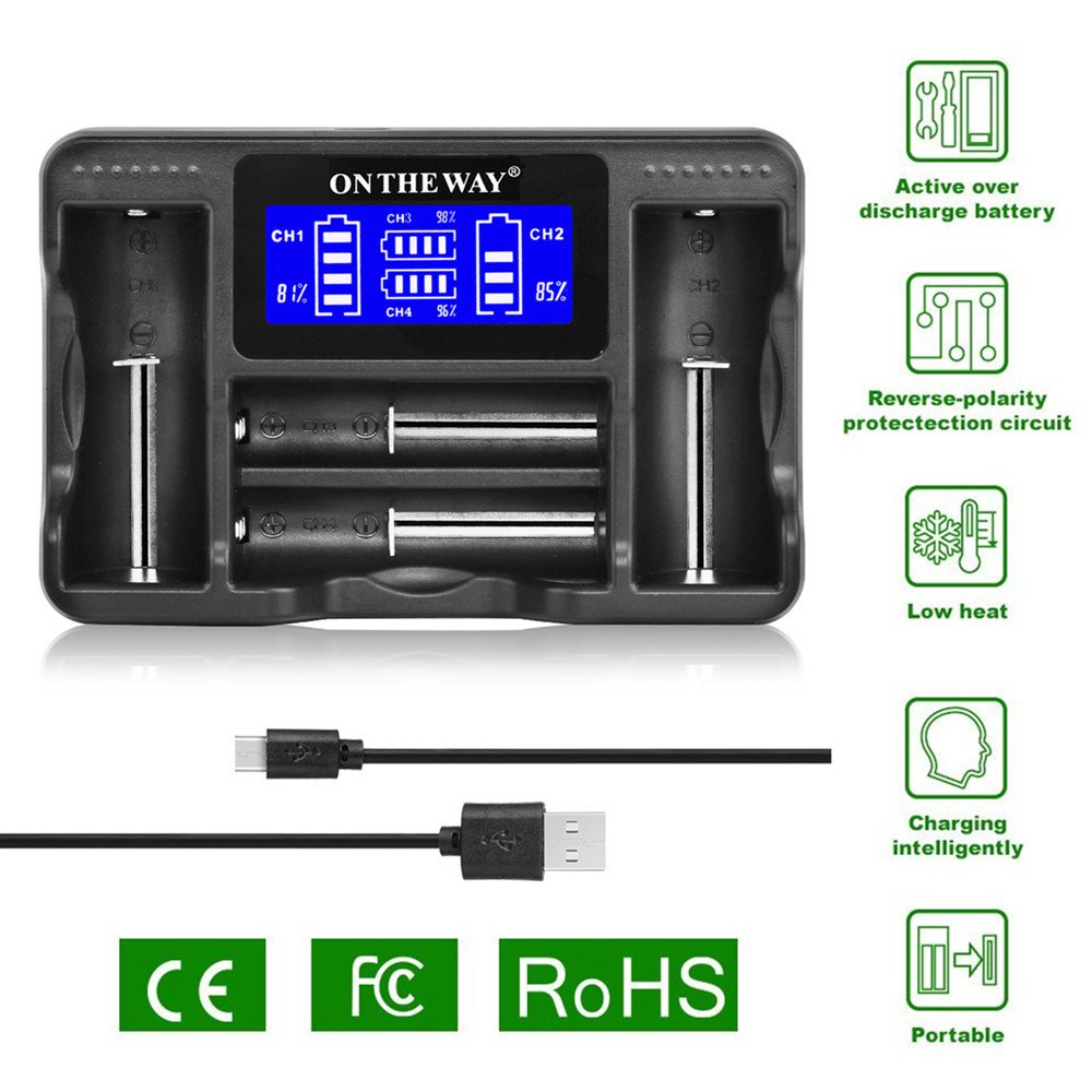 Universal Intelligent Charger,Portable Travelling LCD Smart Display Battery Charger for Rechargeable Batteries Ni-MH Ni-Cd AA AAA Li-ion LiFePO4 IMR 18650 26650 16340 14500 RCR123