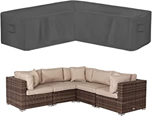 """AKEfit Outdoor v Shaped sectional Sofa Cover, Waterproof Anti-uv Patio Furniture sectional Cover, Heavy Duty Cover for Outdoor Couch Corner Gray 100"""" L x 33.5"""" D x 31"""" H"""